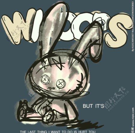 兔子T恤裁片图片