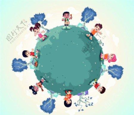 卡通人物植树图片
