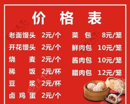 早餐店价格表图片