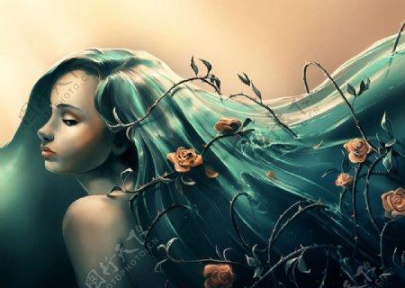 女性人物头发插画卡通背景素材图片