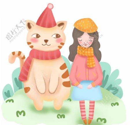 猫和女孩插画图片