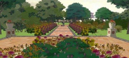 欧式小区景观园林设计效果图图片