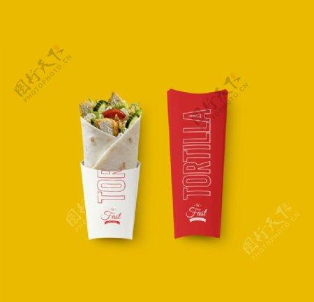 西式快餐汉堡鸡肉卷VI样机图片