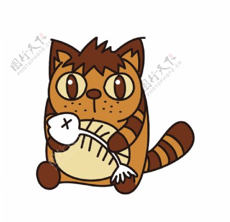 吃鱼的小猫图片