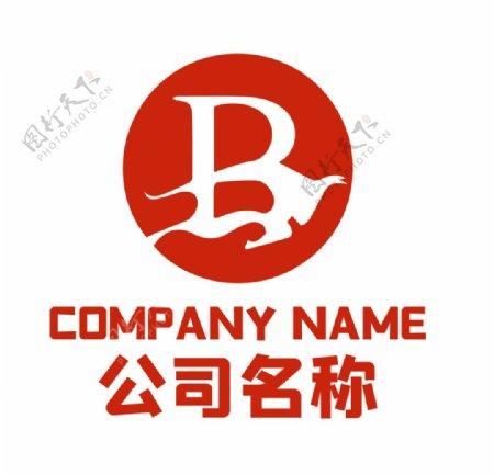 红色牛与字母B创意logo图片