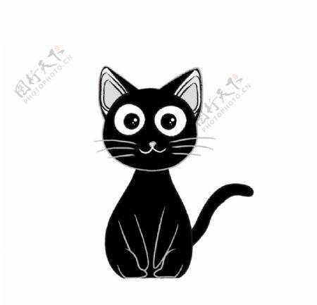 卡通手绘可爱黑色小猫简笔画图片