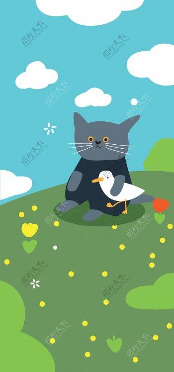 猫咪装饰画图片