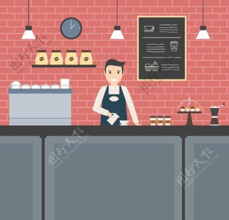 咖啡厅咖啡店剪影图形图片