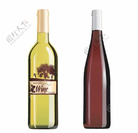葡萄酒瓶矢量图图片