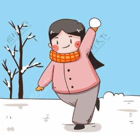 扔雪球的卡通女孩图片