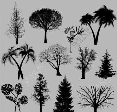 剪影矢量剪影树木图片
