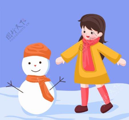 卡通女孩玩雪人图片