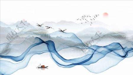水墨山水小船飘带背景墙图片