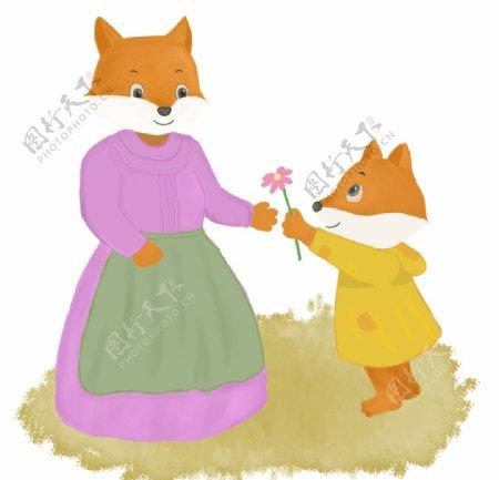 送给妈妈鲜花的小狐狸插画图片