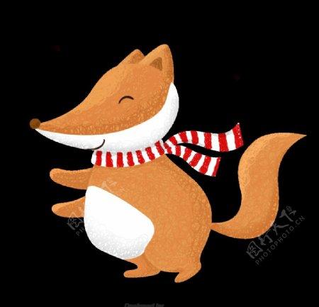 带围巾的狐狸手绘图片