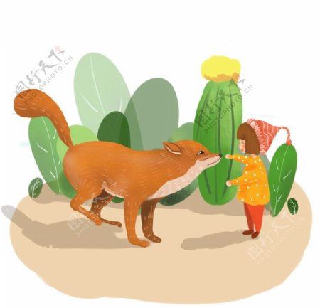 小女孩和狐狸图片
