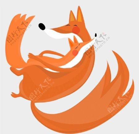 温馨狐狸装饰元素图片
