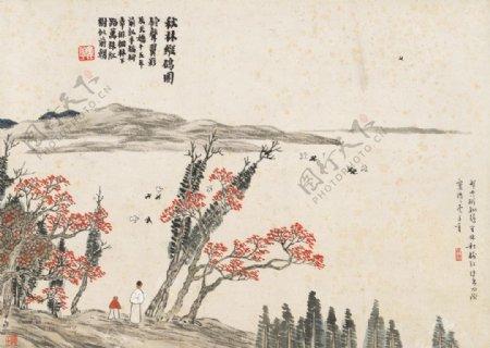 齐白石国画秋林纵鸽图图片
