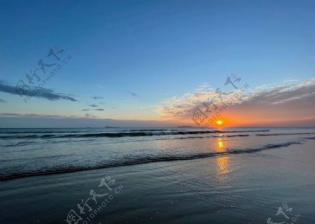大海落日景象图片