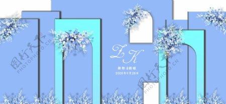 蓝色婚礼背景图片