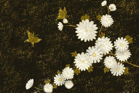 烫金花朵中国风图片