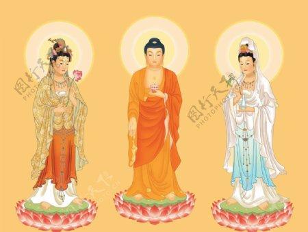 佛教西方三圣大图图片