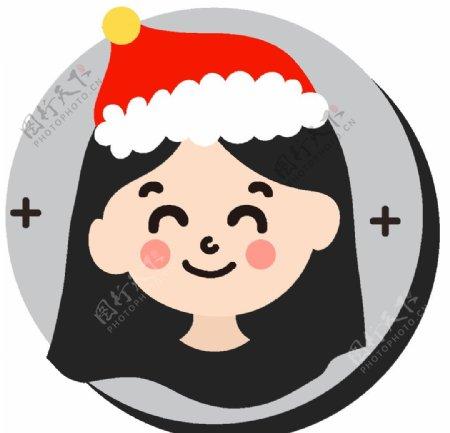 卡通女孩圣诞帽图片
