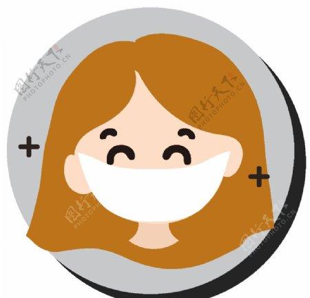 卡通戴口罩女孩人物图片